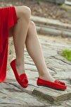 Hakiki Deri Kırmızı Nubuk Kadın Deri Babet Pcc-0102