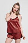 Kadın Kırmızı Çizgili Askılı Pijama Takımı