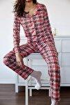 Kadın Mercan Kareli Örme Pijama Takımı 1KZK8-11024-64
