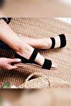 Kadın Siyah Lastikli Eva Tabanlı Comfort Hafif Sandalet