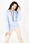 Mylife Kapüşonlu Kanguru Cep Kadın Sweatshirt Açık Mavi - Mlf2735