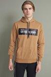 Erkek Bisküvi Kapşonlu Kanguru Cepli So Far So Good Baskılı Sweatshirt