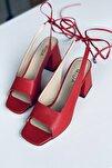 Kırmızı Deri Bağıcıklı Topuklu Ayakkabı