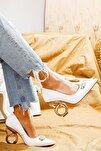 Kadın Beyaz Rugan Taşlı Halka Topuklu Stiletto