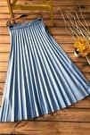 Kadın Mavi Piliseli Uzun Etek