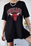 Kadın Siyah Baskılı Yırtmaçlı Boyfriend T-Shirt 1KZK1-11149-02