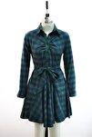 Ekose Desenli Mavi Yeşil Gömlek Elbise Günlük Tunik Gömlek