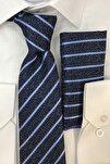 Erkek Lacivert Mavi Çizgi Desenli Kravat Mendil Kutulu Set
