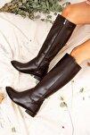Kahverengi Kadın Çizme J654065609