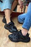 Siyah Track Yüksek Taban Unisex Sneakers Ayakkabı