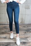 Kadın Koyu Mavi Likralı Yüksek Bel Jean 5060108-880