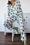 Kadın Beyaz & Yeşil Avokado Desenli Pijama Takımı 1KZK8-11024-78