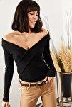 Kadın Siyah Çapraz Detaylı Kaşkorse Bluz BLZ-19001271