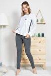 Kadın Lycralı Suprem Uzun Kol Normal Beden Yazılı Desen Gümüş Pijama Takım