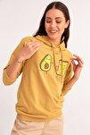 Avokado Baskılı Kapüşonlu Sweatshirt