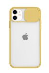 Iphone 11 Sarı Şeffaf Kamera Slayt Korumalı Telefon Kılıfı