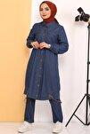 Kadın Koyu Mavi Eteği Büzgü Detaylı İkili Kot Takım Tsd0450