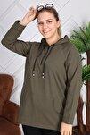 Kapşonu Şerit Detaylı Fermuarlı Büyük Beden Haki Sweatshirt