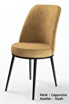Dexa Serisi Cappucino Renk Sandalye Mutfak Sandalyesi, Yemek Sandalyesi Ayaklar Siyah