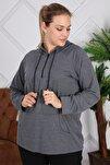 Kapşonu Şerit Detaylı Fermuarlı Büyük Beden Füme Sweatshirt