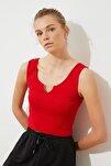 Kırmızı Fitilli Basic Örme Atlet TWOSS20AL0092