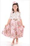 Pembe, Bolerolu, Çiçekli, Taçlı Kız Çocuk Abiye Elbise