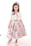 Gri, Bolerolu, Çiçekli, Taçlı Kız Çocuk Abiye Elbise