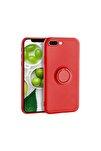 Iphone 7 Yüzüklü Standlı Silikon Kırmızı Telefon Kılıfı