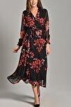 Kadın Siyah Çiçekli Uzun Kruvaze Yaka Şifon Elbise