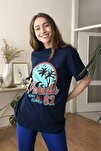 Lacivert Baskılı Boyfriend Örme T-Shirt TWOSS20TS0491