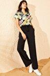 Kadın Siyah Beli Lastikli Kuşaklı Cepli Rahat Pantolon 10081038