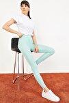 Kadın Mint Yeşili Uzun Kemerli Toparlayıcı Parlak Disko Tayt Fitness 2253399