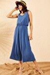 Kadın Mavi İp Askılı Beli Lastikli Bol Paça Tulum 10091001