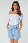 Kadın Mavi Carmen Yaka Çizgili Bluz 10228973 VMHELENMILO