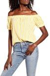 Kadın Sarı Carmen Yaka Çizgili Bluz 10228973 VMHELENMILO