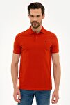 Erkek Kiremit Slim Fit Polo Yaka T-Shirt