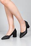 Siyah Krako Kadın Klasik Topuklu Ayakkabı 38918