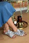 Kadın Siyah Beyaz Yılan Sandalet