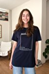 Lacivert Baskılı Boyfriend Örme T-Shirt TWOSS20TS0755