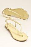 MANISHA Hakiki Deri Sarı Kadın Sandalet