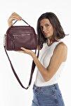 Aynı Butikte 2.Ürün 1 TL Bordo Kadın Çok Bölmeli Omuz Çantası Çapraz Çanta ve El Çantası