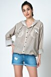 Kadın Bej Kapşonlu Coton Gömlek