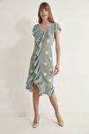 Kadın Puantiyeli Fırfırlı V Yaka  Triko Elbise-Mint 2020S079