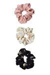 Kadın Siyah 3'Lü Çiçek Desenli Saç Lastiği Paketi 00239009