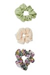 Kadın Lila 3'Lü Çiçek Desenli Saç Lastiği Paketi 00239009