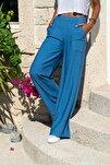 Kadın İndigo Keten Beli Lastikli Salaş Pantolon GK-BST2933