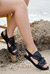 Hakiki Deri Siyah Kadın Deri Sandalet Dp26-0592