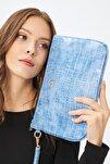 Kadın Basic Clutch Çanta Kroko Timsah Desen Bebek Mavisi 214002