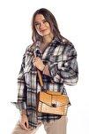 Sarı Kroko Kadın Kapaklı Metal Aksesuarlı Omuz Çantası
