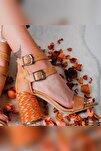 Kadın Kum Çift Bantlı Gerçek Hasır Topuklu Ayakkabı